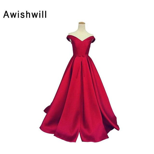 0bd7f54e5052f4 Eenvoudige Ontwerp Uit de Schouder A-lijn V-hals Satijn Bruiloft Gast Party  Dress