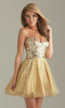Gold sequin prom dress Embellished Bodice Short Prom Dress