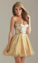 Gold sequin prom dress Embellished Bodice Short Gold Prom Dress pompon embellished fair isle pattern dress