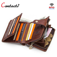 Contact's rfid small wallet men wallets leather genuine coin purse female credit card holder travel walet men money bag designer