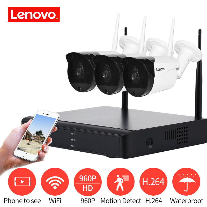 Lenovo système de Surveillance sans fil 960 P HD 1.3MP vision nocturne HDMI AHD CCTV DVR 3CH caméra de sécurité extérieure WIFi