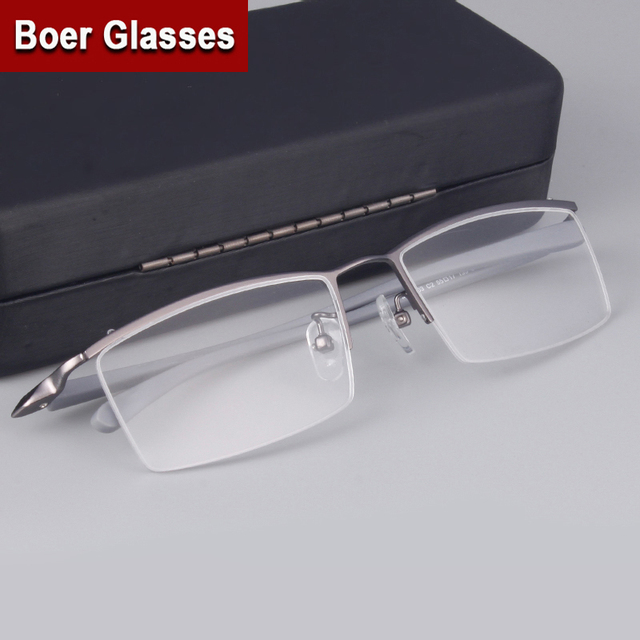 e860924cc8d Fashion Brand Men s Half rimless Eyeglasses Titanium Glasses prescription  eyewear RXable 4003 size 55-17-135 Black Gunmetal