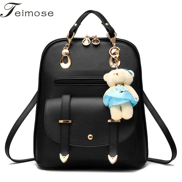 d8a37794a8c9 Multi-use High quality PU Leather Mochila Escolar School Bags For Teenagers  Girls Top-handle Backpacks With Small Gift Bear