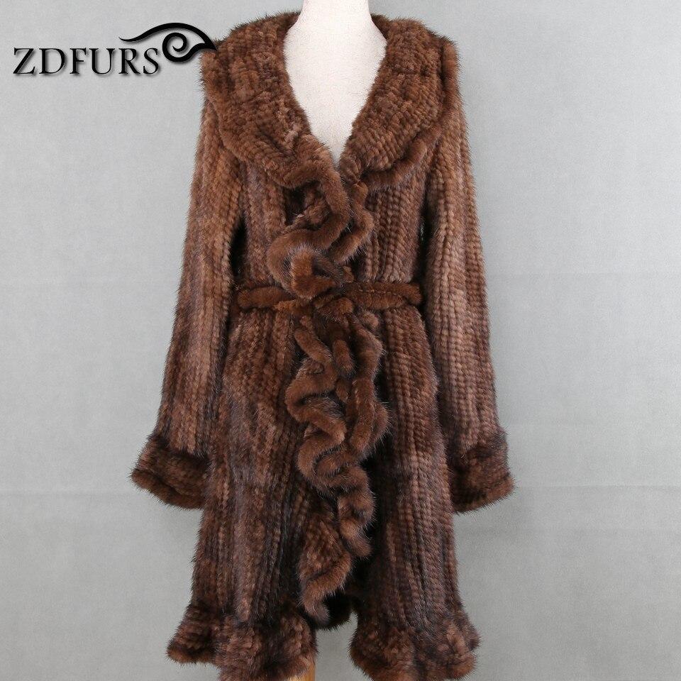 ZDFURS * Роскошные Для женщин из натуральной норки рябить дизайн трикотажные норковая шуба куртки натуральная меховая Верхняя одежда Пальто Д...