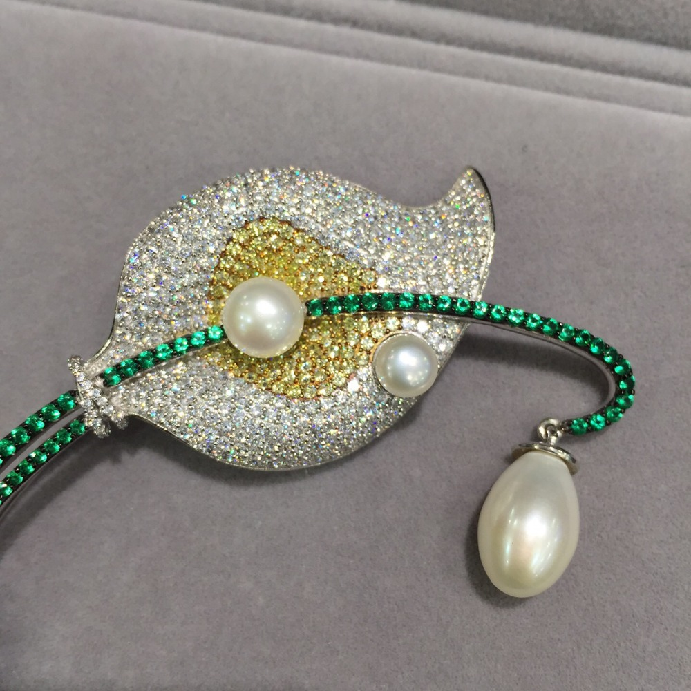 Pearl Antq 925 Sterling Silver Natural Pearl Pin Brooch