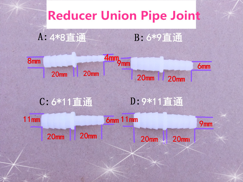 1pcs/lot K610B 4-11mm PE Reducer Union Water Pipe Joint Hose To Hose Silicone Tube Linker Aquarium Parts Sell At A Loss USA