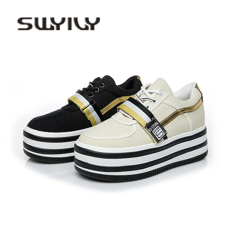 SWYIVY Women s Sneakers Canvas Platform Thick Bottom Female Casual Shoes  2018 Autumn 2019 Spring Student Leisure e5f5a47c8ddb
