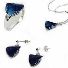 3 цвета Рождественский подарок оптом синий/красный/розовое кольцо с кристаллом(#7.8.9) серьги-гвоздики и цепочка с подвеской, ювелирные изделия набор