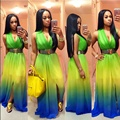 Sexy Tie Dye Dress Large Size Elegant Split Maxi Dresses For Party Plus Size Tank Dresses Deep V Neck vestidos femininos 2016