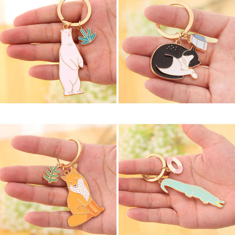 RE Bonito Keychain Animal Do Gato Do Cão do Urso Polar Lobo Crocodilo chaveiro Corgi Bulldog Teddy Chaveiro Acessórios de Jóias Animal de Estimação J2130