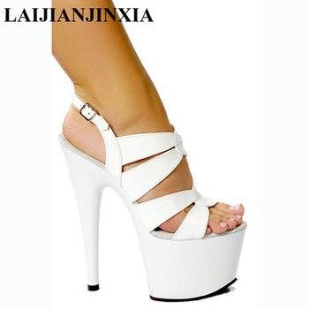 LAIJIANJINXIA Women Black / White 17CM Sexy High Heel Shoes Slippers, Pole Dance Shoes, High Heel Wedding Dance Shoes G-084