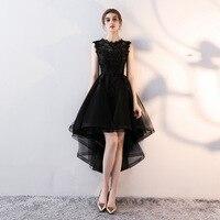FOLOBE Kobiety Black Lace Suknie Organza Ruffles Vintage Aplikacja Suknia Balowa Bez Rękawów Wieczorne Party Suknie Suknia