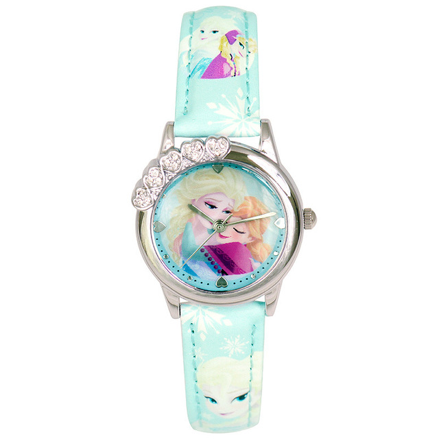 Children Girl Disney brands Quartz Wristwatches leather Frozen Cartoon kids girls watches waterproof student relogio clocks
