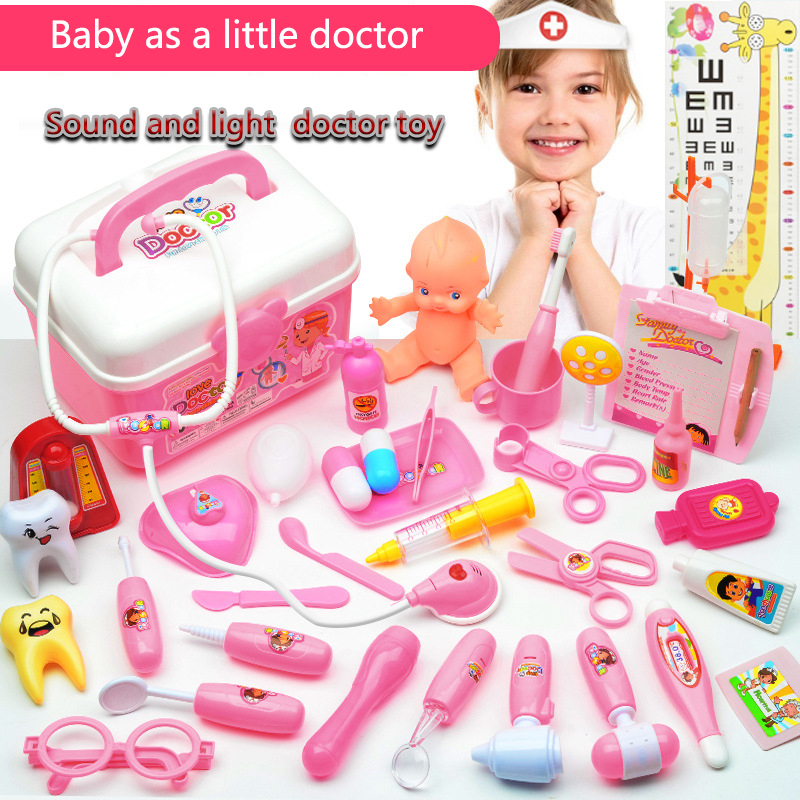 Doctor Kit For Children Suit For Girls' Doctor Toys Kids Toys Role Play Medical Suitcase Simulated Medical Device Combination