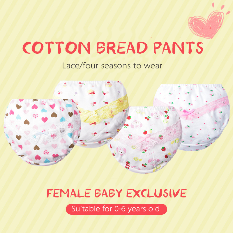 3 Pcs Lace Infants Nappies Cute Bowknot Baby Girls Washable Reusable Diapers Soft Comfortable Training Pant Cloth Diaper