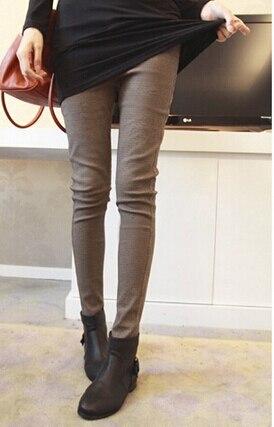 Free Shipping High Quality Autumn Winter Hot Sale Thicken Plaid Slim Woman Pants Fashion Leggings Khaki/Black