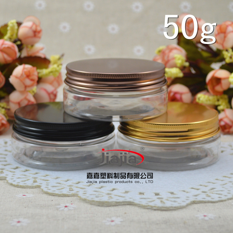 50 grams clear PET Jar,50g clear Cream Cans with black gold bronze Lid Aluminum Cap, 50ml PET Cream Jar wholesale