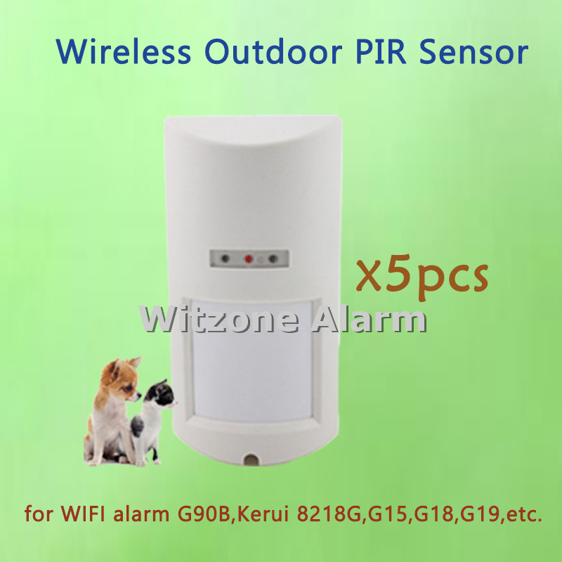 5pcs Wireless Pet Immune Weatherproof Outdoor PIR Sensor External Street Alarm Motion Detector for Wifi G90B,Kerui Home Alarm wireless pet immune outdoor motion sensor alarm detector for gsm pstn home security system 433mhz ip65 weatherproof