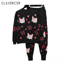 Women Two Piece Set Top and Pants Black Tracksuits 2piece Sweet Pink Cat Print Clothing Knitted Outfits Sweatsuits For Womens