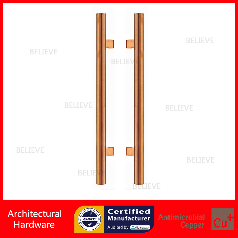Modern Entrance Door Handle Rose Gold Color Stainless Steel Pull Handles PA-104 For Glass/Frame/Wooden Doors antimicrobial black solid nylon offset door pull handle for entrance glass wooden metal frame doors pa 797