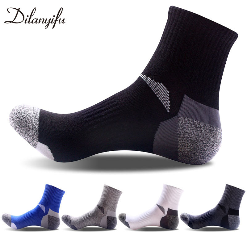 Dilanyifu 10pcs=5pairs/lot Spring Autumn Fashion Cotton Casual Men crew   socks   high quality Brand black   socks   for male size 40-45