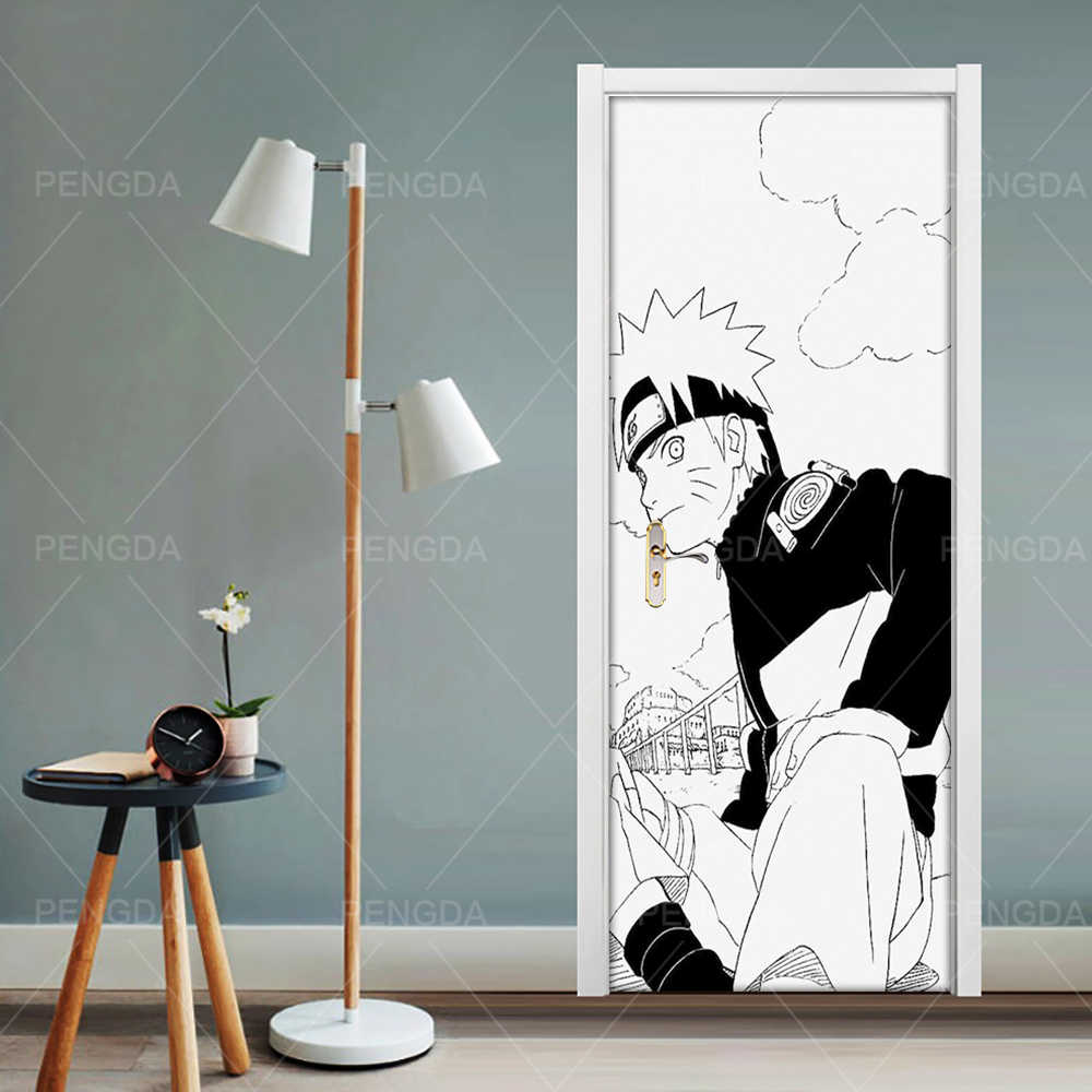 Home Decor Decal Poster 3D Creative Naruto Anime Door Sticker Black White Print Art Picture Waterproof Wallpaper Paste Kids Room Door Stickers AliExpress