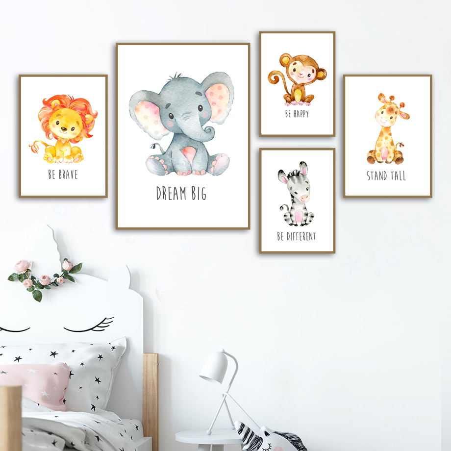 Lion Monkey Elephant Giraffe Nursery Nordic Posters And Prints Wall Art Canvas Painting Wall Pictures Girl Boy Kids Room Decor