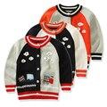 2016 новый малыш мальчик свитер дети кардиганы хлопок поезд аппликация дети теплая зима свитер мальчиков одежда