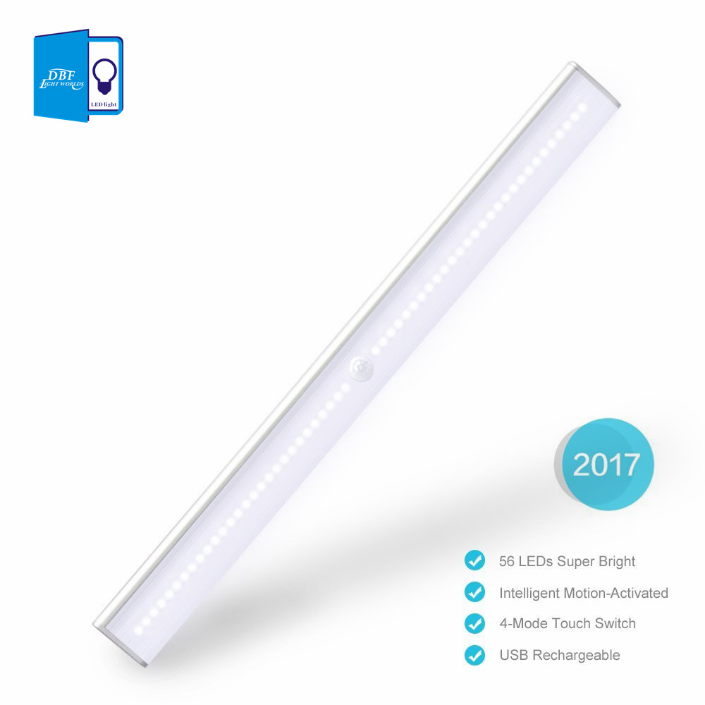 56 LED Rechargeable PIR Motion Sensor LED Night Light Lampe Pour Couloir Voie Escalier Bande Magnétique lumière LED Wall light