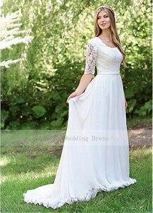 Image 2 - Classic O Neck Cheap Lace Wedding Dress Chiffon Skirt Design Half Sleeve Custom Made Zipper Back Bridal Dresses 2019 Hot