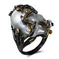 Luxo ouro irregular Anel de Pérola natural preto & banhado a Ouro com cubic zircon & água doce pérola jóias da moda