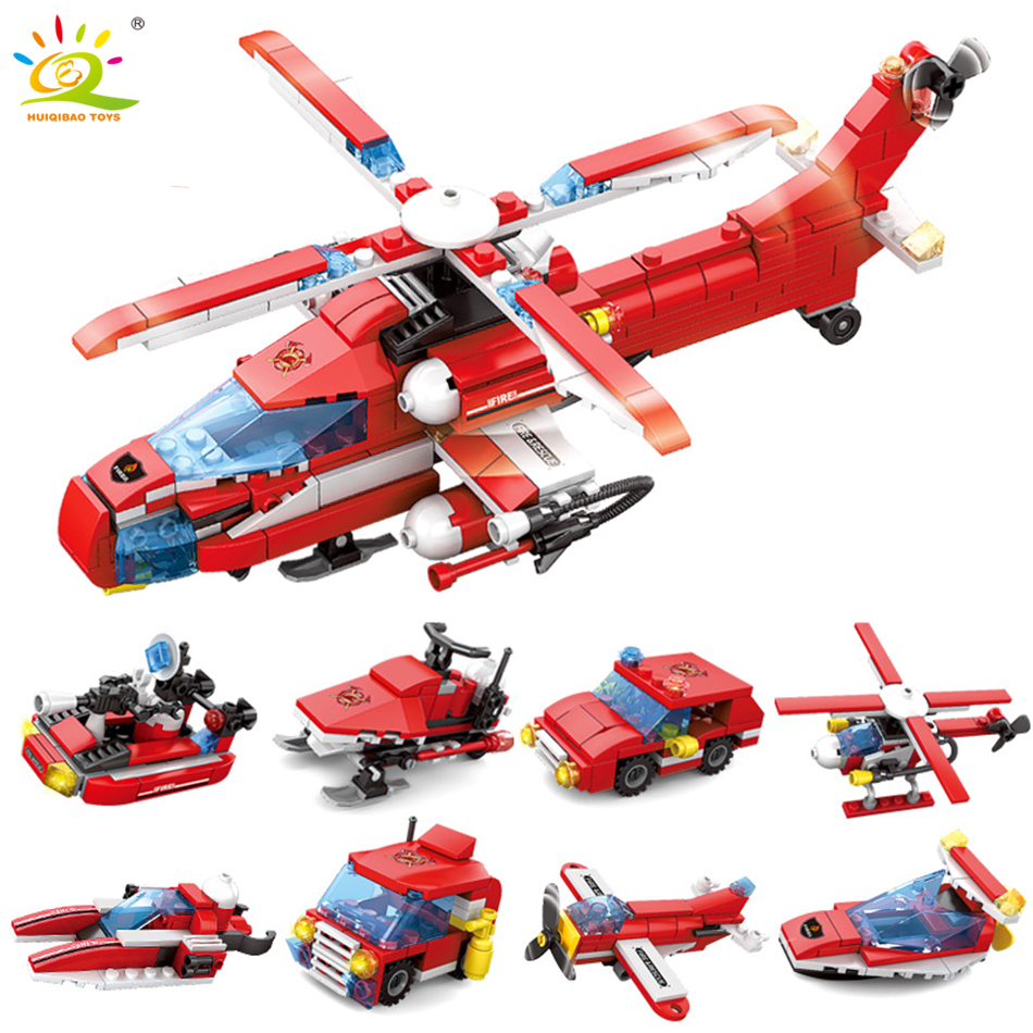 HUIQIBAO TOYS 349pcs 8in1 FireFight Helicopter Building Blocks Sets toys For children Compatible Legoed City trucks DIY Bricks
