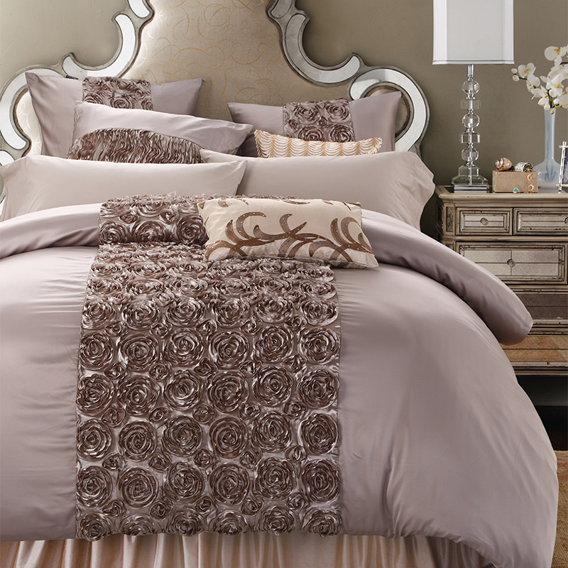 Luxury Washed Silk Hand Folding 3d Rose Bedding Set Silky Smooth