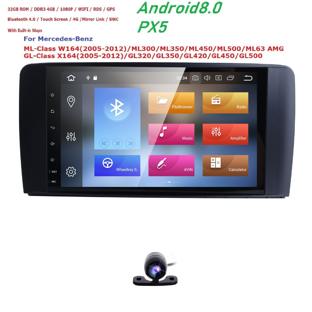 Android 8.0 Car Multimedia Player Car Radio GPS For Mercedes/Benz/GL ML CLASS W164 ML350 ML450 ML500 GL320 Canbus Bluetooth wifi custom fit car floor mats special for w164 w166 mercedes benz ml gle ml350 ml400 ml500 gle300 gle320 gle400 gle450 gle500 liner