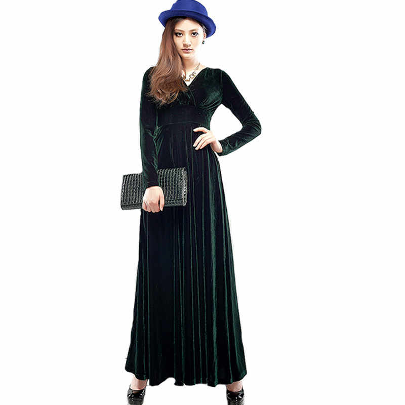 bccd1e506b97d Long Dress Plus Size S-3XL Women Winter Dresses Long Sleeve V Neck Maxi  Dress Velour Women Sexy Party Night Club Dress C2787