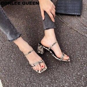 Image 2 - Donlee sandálias de rainha, envoltório para mulheres, salto médio, pele de cobra, chinelos vestido sapato