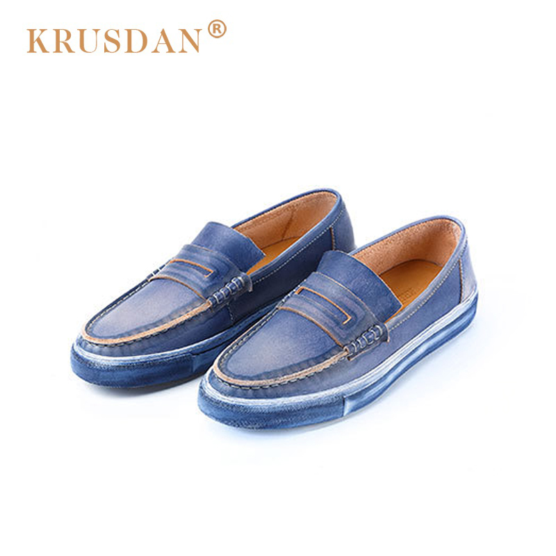 [krusdan]2018 Men Casual Shoes Genuine Leather Blue Brown Men Retro Flat Shoes Classic Hand Sewing Men Flats Zapatos Hombres hot sale mens italian style flat shoes genuine leather handmade men casual flats top quality oxford shoes men leather shoes