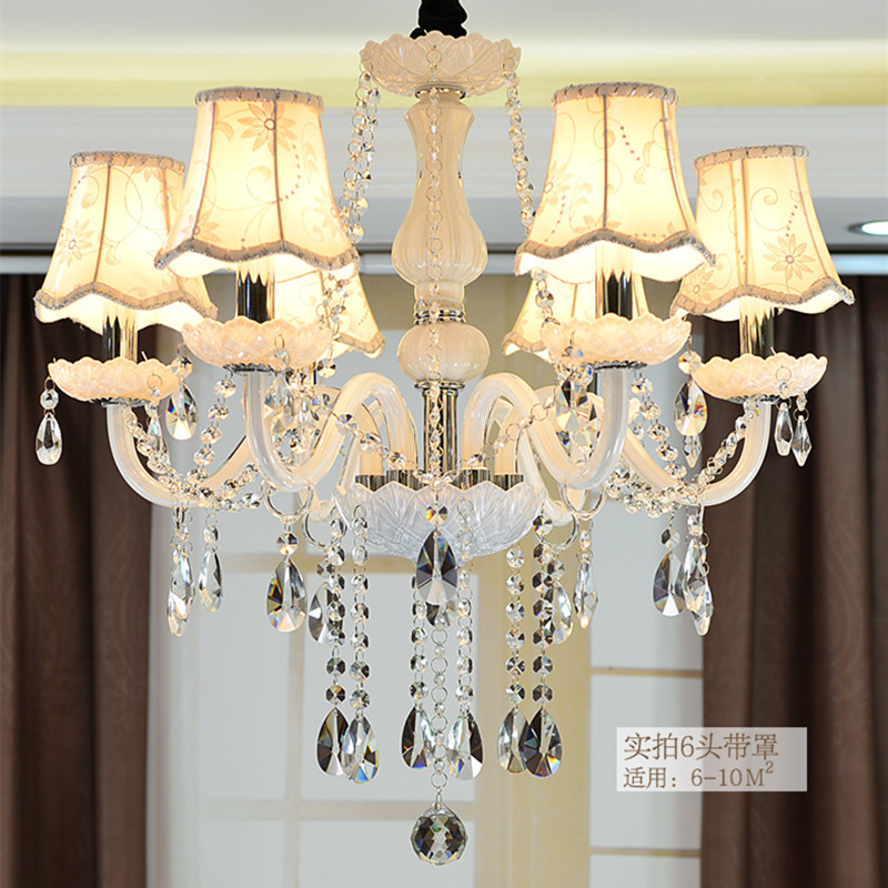 Candle Lamp Shades Shop: Classic Pure white 6 heads Rustic Iron Glass chandeliers light fabric lamp  shade candle chandelier lamp lustre para sala,Lighting