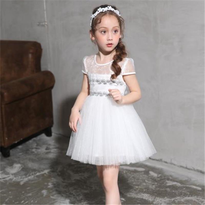2017 Літні сукні для дівчат Біла квітка - Дитячий одяг