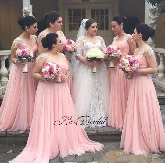 New Arrival Long Bridesmaid Dresses 2017 Sweetheart Cap Sleeve Floor Length A-Line Beaded Chiffon Wedding Party Dresses