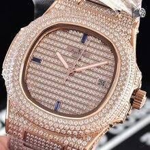 Luxury Brand New Automatic Mechanical Men Watch Sapphire Full Iced Diamonds Transparent Silver Rose font b