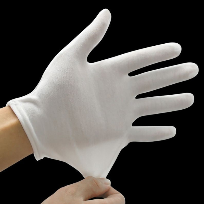 Ceremonial White Cotton Gloves Labor Work Gloves Mechanism Ultrasound Gloves Can Be Customized Logo