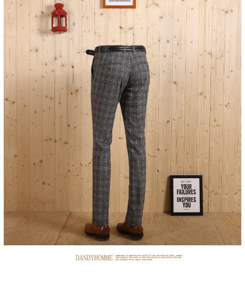 Новое поступление, высококачественные мужские весенне-осенние легкие джентльмен, серые клетчатые повседневные Костюмы, длинные штаны, тонкие деловые мужские штаны