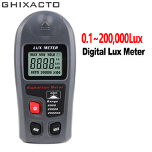 GHIXAC Portable High Precision Digital Luxmeter 0.1~200000Lux Light Meter Sensor Large LCD Display Photometer Handheld Tool MT30