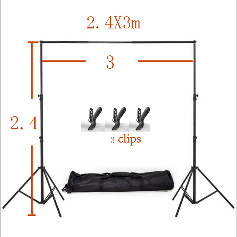 Photography Backdrop Stand Backdrop Support System Photography Studio Equipment Backdrop Portable Stand +carry bag 3clips 2.4X3m lightdow 2x3m 6 6ftx9 8ft adjustable backdrop stand crossbar kit set photography background support system for muslins backdrops