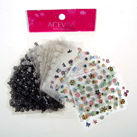 ACEVIVI 90 Sheets 3D Design Tip Nail Art Sticker Decal Manicure Fashion Women's Professional Nail Care Fingernail Wraps