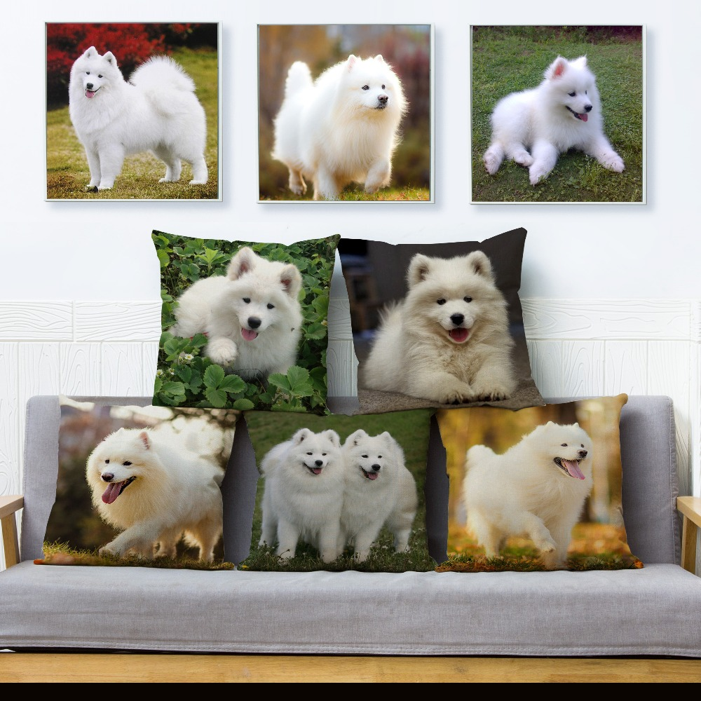 Cute Siberia Samoyed Throw Pillow Cover 45*45cm Cushion Cover Linen Pillow Case Car Sofa Home Decor Pet White Dog Pillows Cases