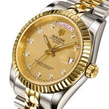HOLUNS Часы Мужчины Сапфировое стекло Золотые Часы Мужчины Автоматическая Механическая нержавеющей Стали дата неделя наручные часы relógio masculino