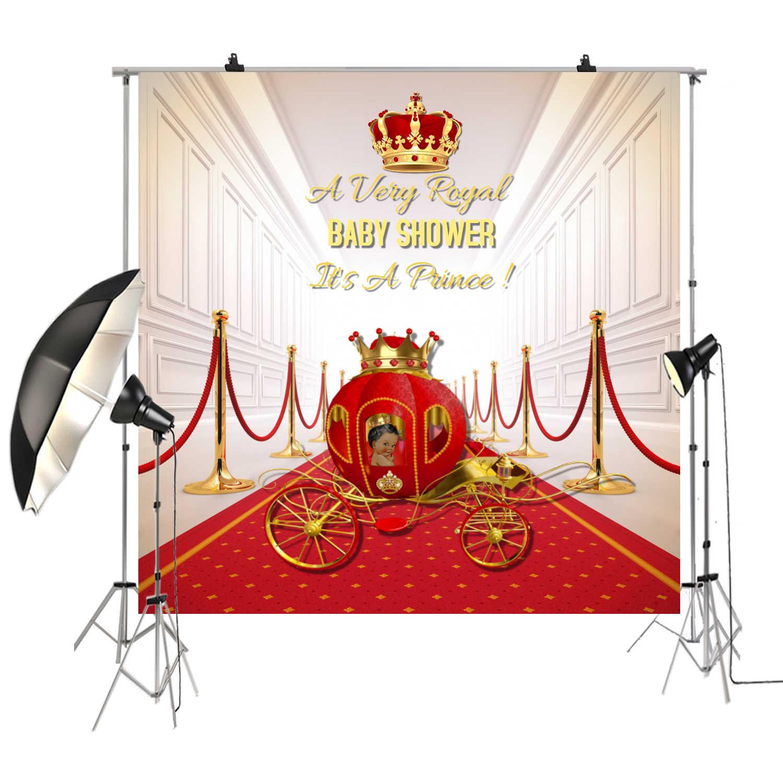 الأحمر السجاد خلفية التصوير خلفية الملكي الأمير الذهب تاج خلفية الطفل دش استوديو الصور الدعائم SM-045