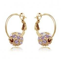 Новое поступление Для женщин мода серьги с золотой шар Хрустальный полный горный хрусталь серьги золото и серебро покрытием - Окраска металла: gold violet